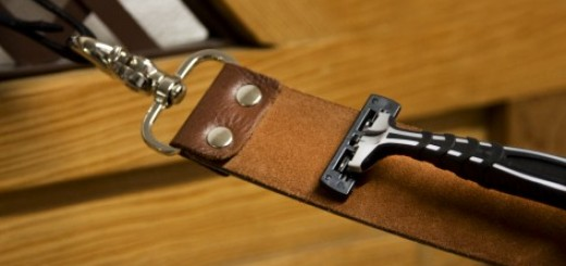 Resharpen your dull razor blades and scissors with a leather strop called the razor renew