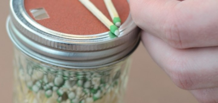 matches in a jar with strikeable lid