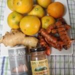 orange, tumeric, ginger juice
